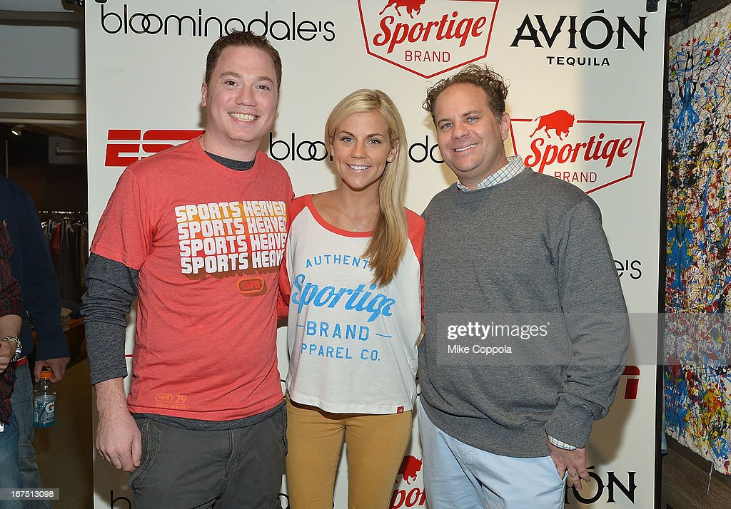Co-Founder of Sportiqe Apparel, Jason Franklin, Sportscaster Samantha Ponder, and Co-Founder of Sportiqe Apparel, Matt Altman pose for a picture as Sportiqe and ESPN host a NBA Playoff Party at Bloomingdale's 59th Street Store on April 25, 2013 in New York City.