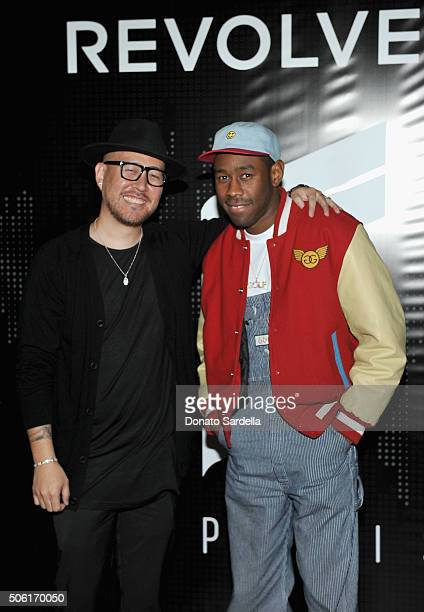 CoFounder of Superism Ben Baller and rapper/actor Tyler the Creator attend the REVOLVEman and Superism launch event at SmogShoppe on January 21 2016...