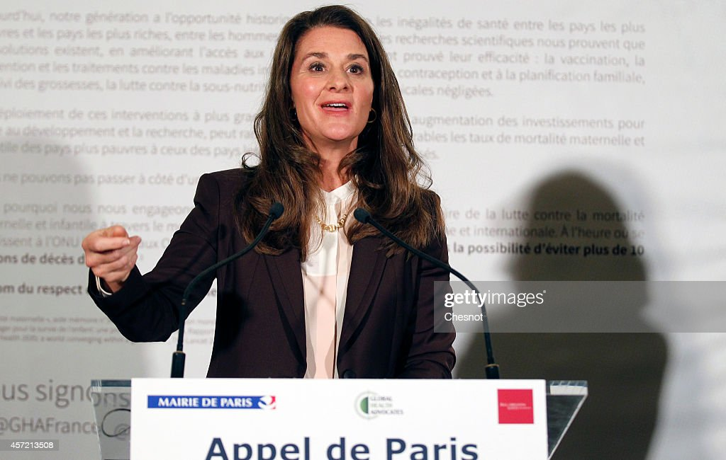 Cofounder of the Bill and Melinda Gates Foundation Melinda Gates delivers a speech during a meeting aimed at drumming up support for women and girls...