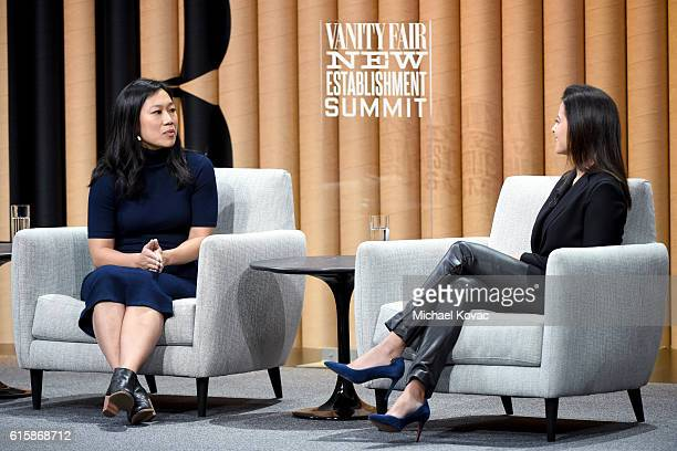 Cofounder of the Chan Zuckerberg Initiative Priscilla Chan and president of the Goldman Sachs Foundation Dina Powell speak onstage during 'The Next...