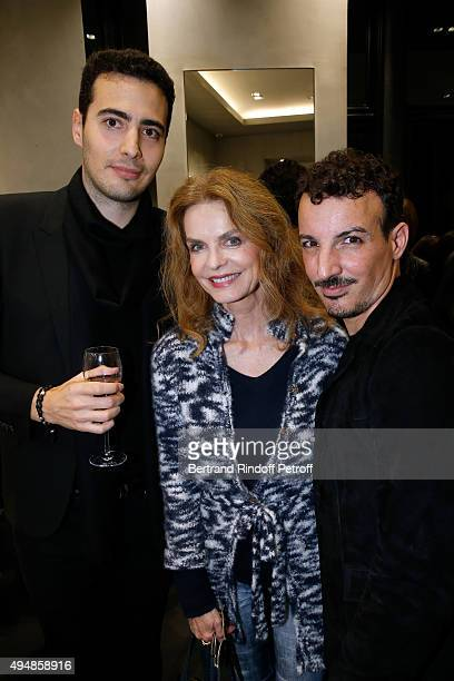 CoFounder of the Store JeanVictor Meyers Cyrielle Clair and Calligrapher Nicolas Ouchenir attend the Opening of the Collection 'Exemplaire x Nicolas...