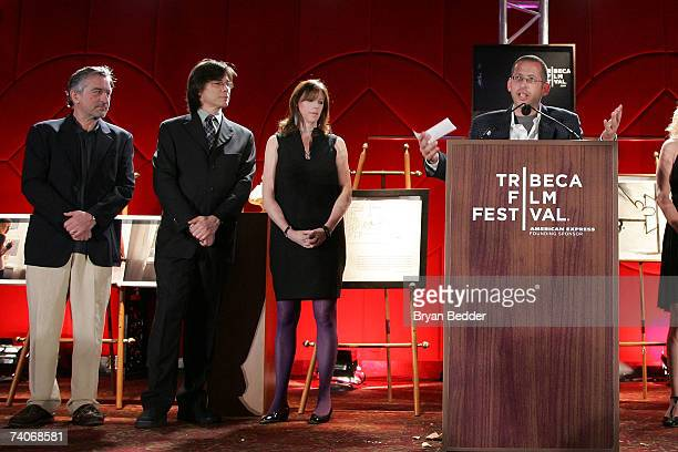 Cofounder of the TFF Robert De Niro production accountant Benj Whitehouse and cofounder of TFF Jane Rosenthal present the cofounders award for best...