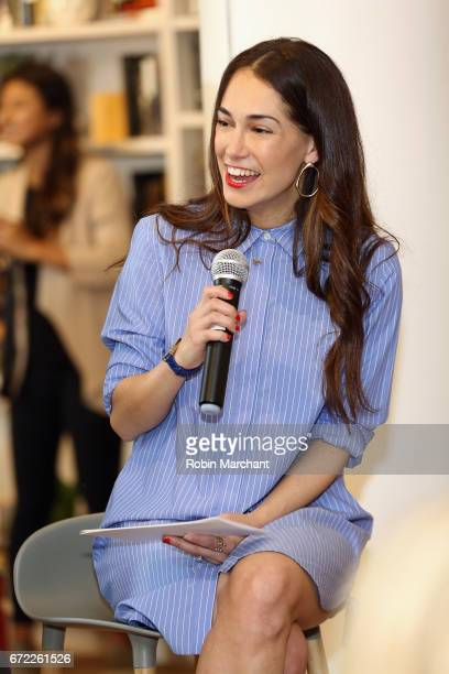 Cofounder of The Wing Audrey Gelman speaks on a panel during a VIP screening of the Original Series 'The Handmaid's Tale' presented by Hulu at The...