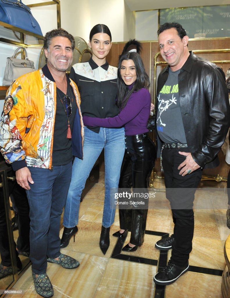 Co-founder of What Goes Around Comes Around Gerard Maione, Kendall Jenner, Kourtney Kardashian and co-founder of What Goes Around Comes Around Seth Weisser at What Goes Around Comes Around Beverly Hills Anniversary on October 11, 2017 in Beverly Hills, California.