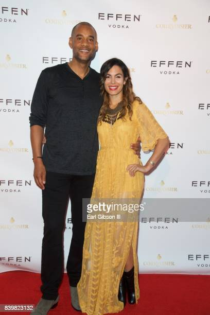 CoFounder PCF Restaurant Management Karim Webb and actress Nadine Valazquez attend the Buffalo Wild Wings Opening In Koreatown at Buffalo Wild Wings...