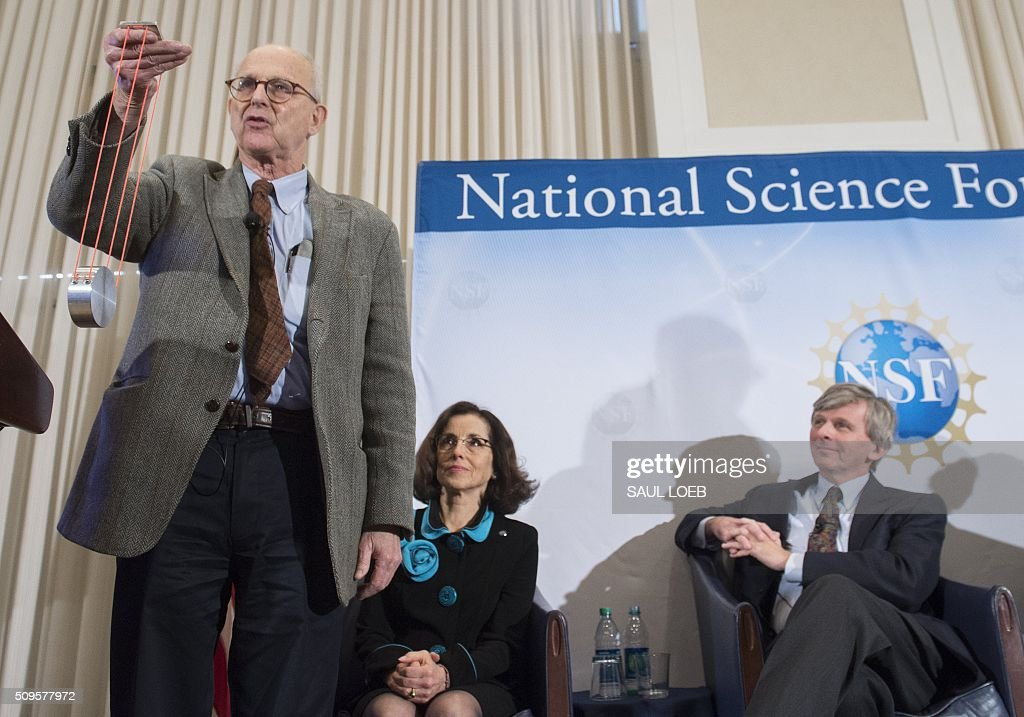 LIGO co-founder Rainer Weiss (L), speaks alongside France Cordova (C), directof of the National Science Foundation, and David Reitze (R), executive director of LIGO, as they announce that scientists have observed the ripples in the fabric of spacetime called gravitational waves for the first time, confirming a prediction of Albert Einstein's theory of relativity, during a press conference at the National Press Club in Washington, DC, February 11, 2016. The machines that gave scientists their first-ever glimpse at gravitational waves are the most advanced detectors ever built for sensing tiny vibrations in the universe.The two US-based underground detectors are known as the Laser Interferometer Gravitational-wave Observatory, or LIGO for short. LOEB