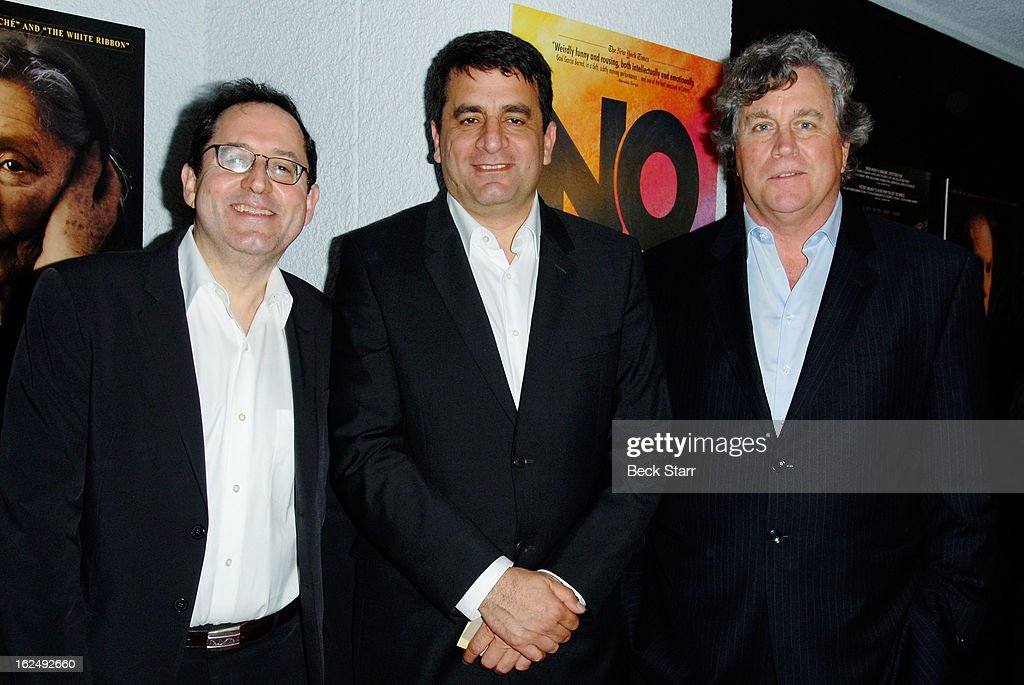 Co-founder Sony Pictures Classics <a gi-track='captionPersonalityLinkClicked' href=/galleries/search?phrase=Michael+Barker+-+CEO&family=editorial&specificpeople=236048 ng-click='$event.stopPropagation()'>Michael Barker</a>, director <a gi-track='captionPersonalityLinkClicked' href=/galleries/search?phrase=Dror+Moreh&family=editorial&specificpeople=9690099 ng-click='$event.stopPropagation()'>Dror Moreh</a> and co-founder Sony Pictures Classics <a gi-track='captionPersonalityLinkClicked' href=/galleries/search?phrase=Tom+Bernard&family=editorial&specificpeople=204620 ng-click='$event.stopPropagation()'>Tom Bernard</a> arrive at the Sony Pictures Classics Pre-Oscar Dinner at The London Hotel on February 23, 2013 in West Hollywood, California.
