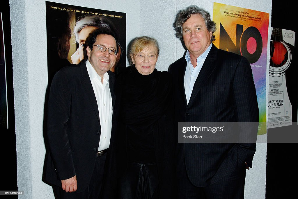 Co-founder Sony Pictures Classics Michael Barker, producer Margaret Menegoz and co-founder Sony Pictures Classics <a gi-track='captionPersonalityLinkClicked' href=/galleries/search?phrase=Tom+Bernard&family=editorial&specificpeople=204620 ng-click='$event.stopPropagation()'>Tom Bernard</a> arrive at the Sony Pictures Classics Pre-Oscar Dinner at The London Hotel on February 23, 2013 in West Hollywood, California.