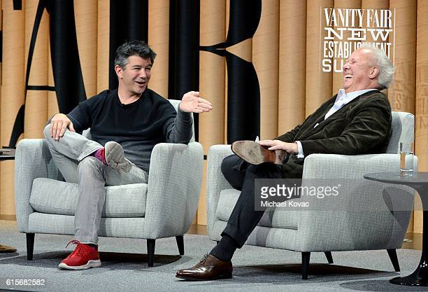 Cofounder/CEO of Uber Travis Kalanick and editor of Vanity Fair Graydon Carter speak onstage during 'The Übermensch' at the Vanity Fair New...