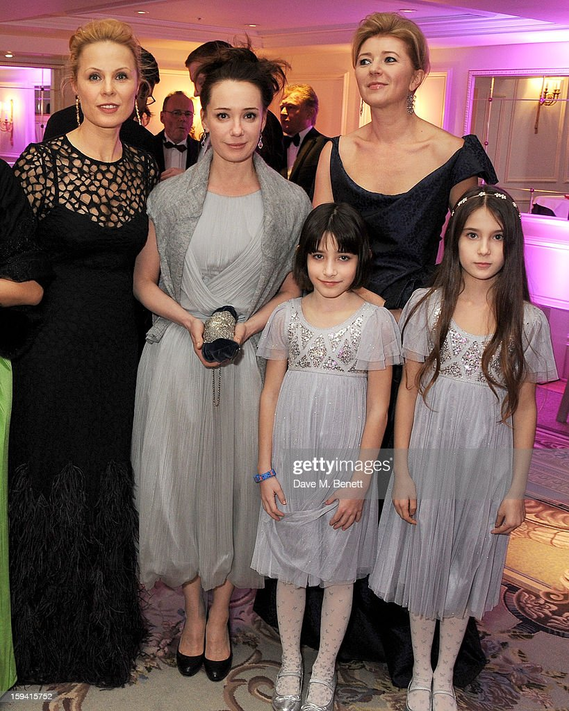 Co-Founders Dina Korzun, Chulpan Khamatova with daughters Arina and Alina, and Lyuba Galkina attend a gala evening celebrating Old Russian New Year's Eve in aid of the Gift Of Life Foundation at The Savoy Hotel on January 13, 2013 in London, England.