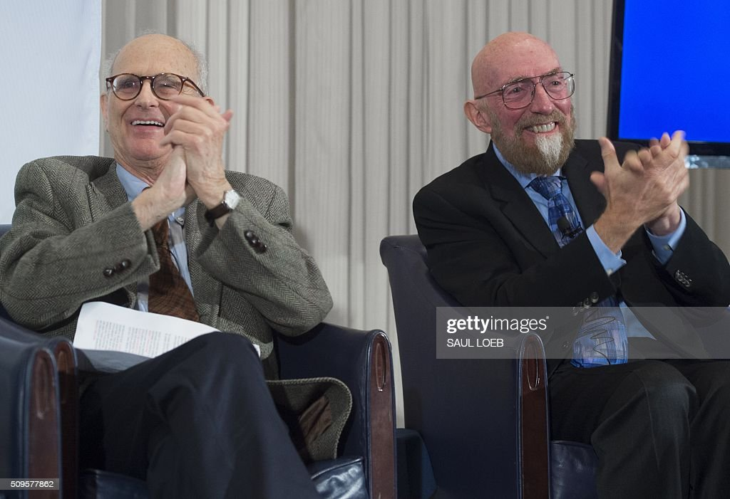 LIGO co-founders Kip Thorne (R), and Rainer Weiss (L), speak about their discovery showing the ripples in the fabric of spacetime called gravitational waves that scientists have observed for the first time, confirming a prediction of Albert Einstein's theory of relativity, during a press conference at the National Press Club in Washington, DC, February 11, 2016. The machines that gave scientists their first-ever glimpse at gravitational waves are the most advanced detectors ever built for sensing tiny vibrations in the universe.The two US-based underground detectors are known as the Laser Interferometer Gravitational-wave Observatory, or LIGO for short. LOEB