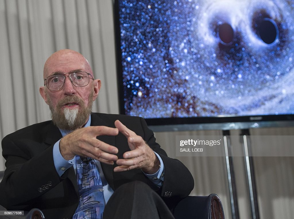 LIGO co-founders Kip Thorne speaks about the discovery that scientists have observed the ripples in the fabric of spacetime called gravitational waves for the first time, confirming a prediction of Albert Einstein's theory of relativity, during a press conference at the National Press Club in Washington, DC, February 11, 2016. The machines that gave scientists their first-ever glimpse at gravitational waves are the most advanced detectors ever built for sensing tiny vibrations in the universe.The two US-based underground detectors are known as the Laser Interferometer Gravitational-wave Observatory, or LIGO for short. LOEB