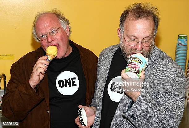 Cofounders of Ben Jerry's Ice Cream Ben Cohen and Jerry Greenfield attend the partnership launch of Ben Jerry's and The ONE campaign's fight against...