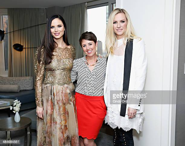 CoFounders of fashion label Marchesa Georgina Chapman and Keren Craig pose with Wedding Etiquette Maven at Wedding Paper Divas Amber Harrison as...