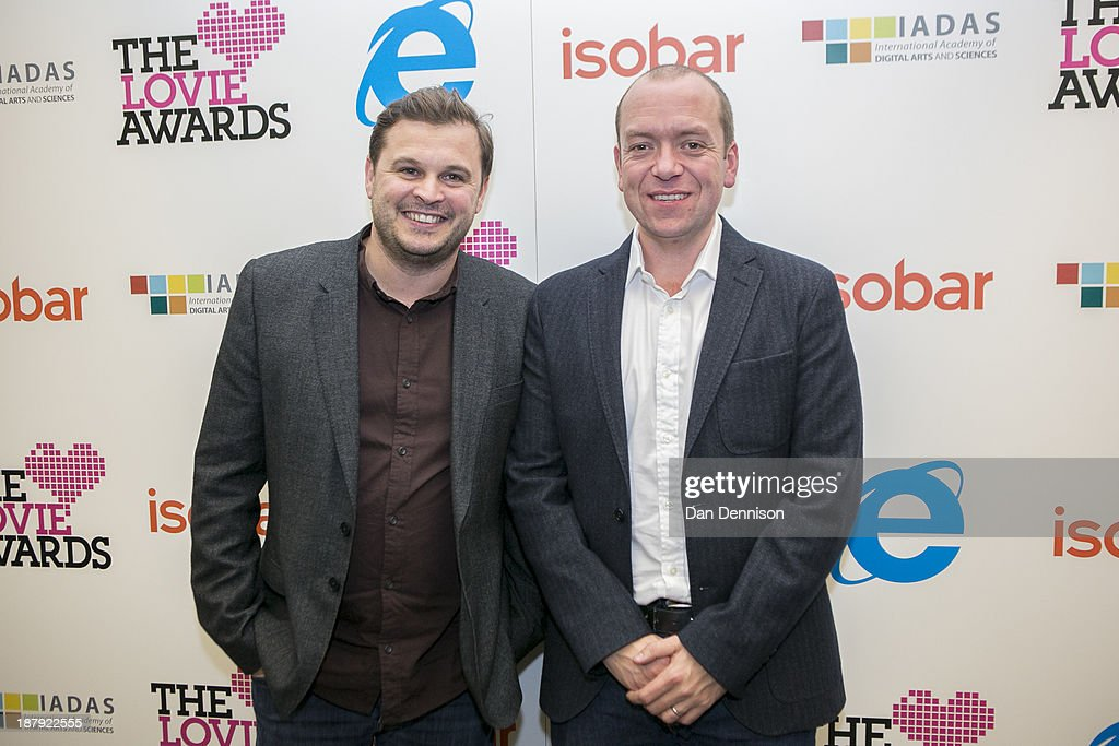 Cofounders of Taxi booking app 'Hailo' Gary Jackson and Terry Runham attend The Third Annual Lovie Awards at LSO St Luke's on November 13 2013 in...