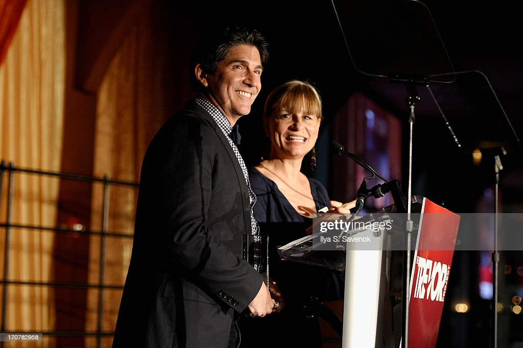 Co-Founders of The Trevor Project, James Lecesne and Peggy Rajski speak on stage at The Trevor Project's 2013 'TrevorLIVE' Event Honoring Cindy Hensley McCain at Chelsea Piers on June 17, 2013 in New York City.