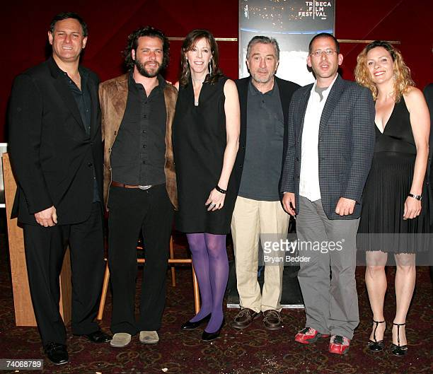 Cofounders of the Tribeca Film Festival Craig Hatkoff his wife Jane Rosenthal Robert de Niro director David Volach and Sharon Hacohen Bar pose for a...