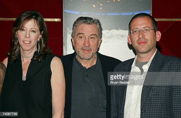 Cofounders of the Tribeca Film Festival Jane Rosenthal and Robert De Niro pose with David Volach the winner of the cofounders award for best...