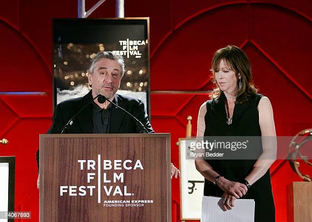 Cofounders of the Tribeca Film Festival Robert De Niro and Jane Rosenthal present the cofounders award for best narrative feature onstage at the 2007...