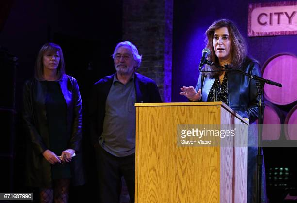 Cofounders of Tribeca Film Festival Jane Rosenthal and Robert De Niro and Executive Vice President of Tribeca Enterprises Paula Weinstein attend...