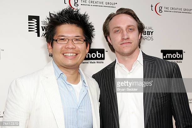Cofounders of YouTube Steve Chen and Chad Hurley arrive at the 11th Annual Webby Awards at Chipriani Wall Street June 5 2007 in New York City