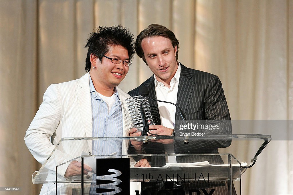 Cofounders of YouTube Steve Chen and Chad Hurley speak onstage while receiving the Webby Person of the Year award at the 11th Annual Webby Awards at...