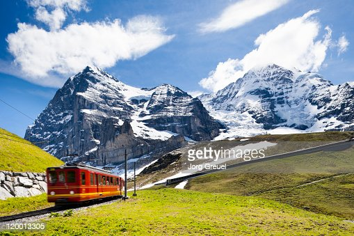 A cog railway to Jungfraujoch : Stock Photo