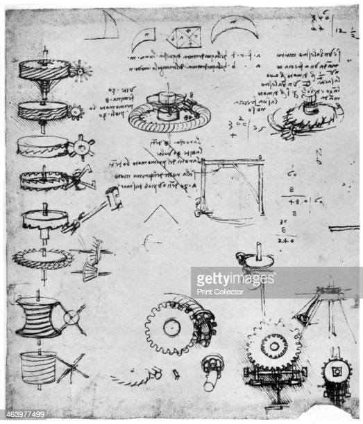 Cog wheels late 15th or early 16th century Codex Atlanticus 372rb A print from Leonardo da Vinci by Ludwig H Heydenreich Macmillan London 1954