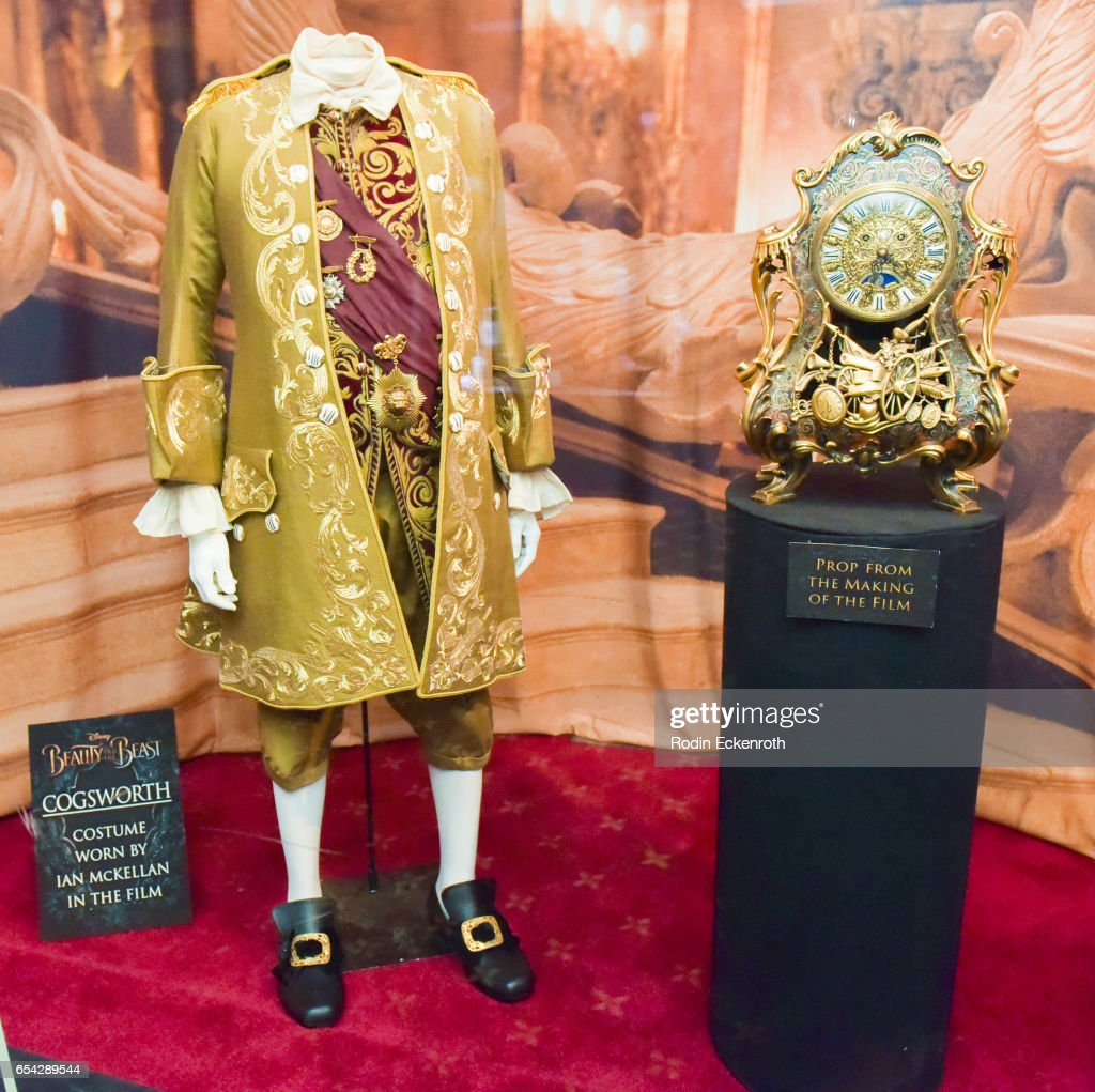 'Cogsworth' movie prop on display at opening night of Disney's 'Beauty And The Beast' at El Capitan Theatre on March 16, 2017 in Los Angeles, California.