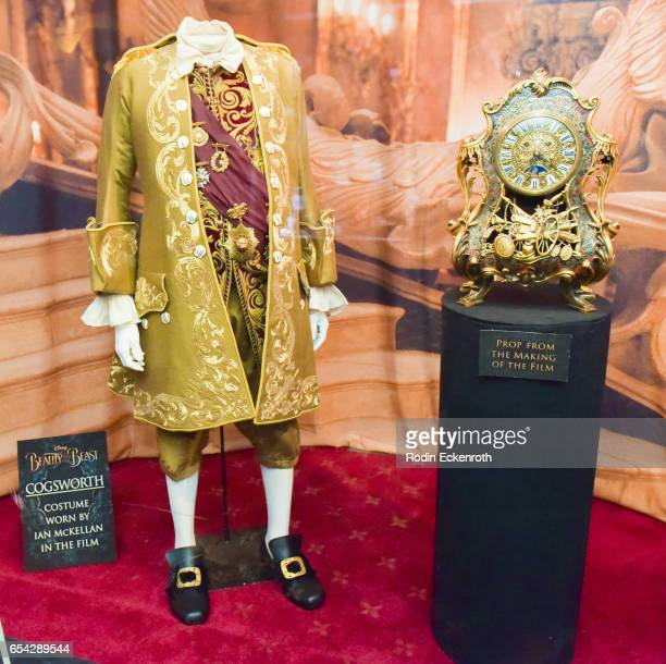 'Cogsworth' movie prop on display at opening night of Disney's 'Beauty And The Beast' at El Capitan Theatre on March 16 2017 in Los Angeles California