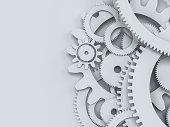 Cogwheel gear mechanism paper cutout style. 3d illustration