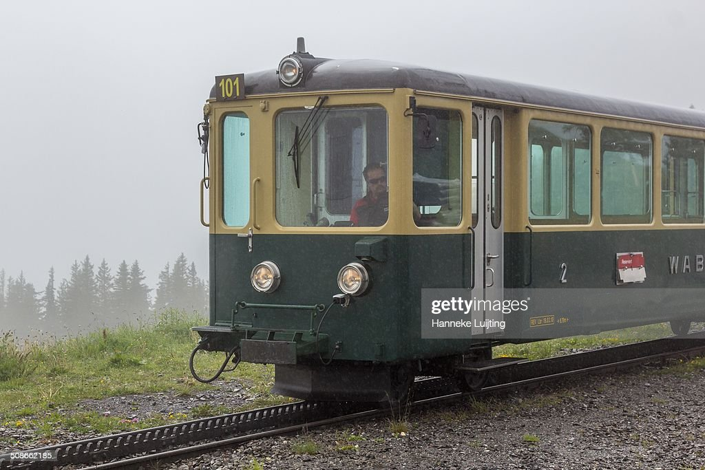 A cogwheel train from the Wengernalp Railway arriving at Wengernalp station in Switzerland, coming from Lauterbrunnen and continuing to Kleine Scheidegg.