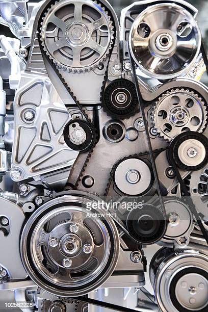 Cogwheels and drive belts of motor car