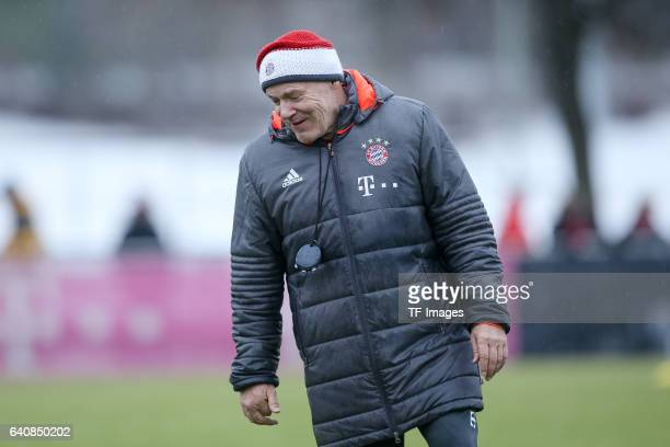 CoHead couch Hermann Gerland of FC Bayern Muenchen looks on during a training session at the Saebener Strasse training ground on January 30 2017 in...