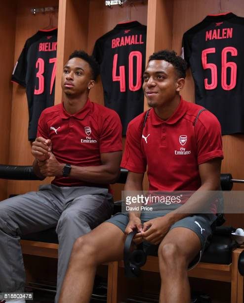 Cohen Bramall and Donyell Malen of Arsenal before the match between Bayern Munich and Arsenal at Shanghai Stadium on July 19 2017 in Shanghai China
