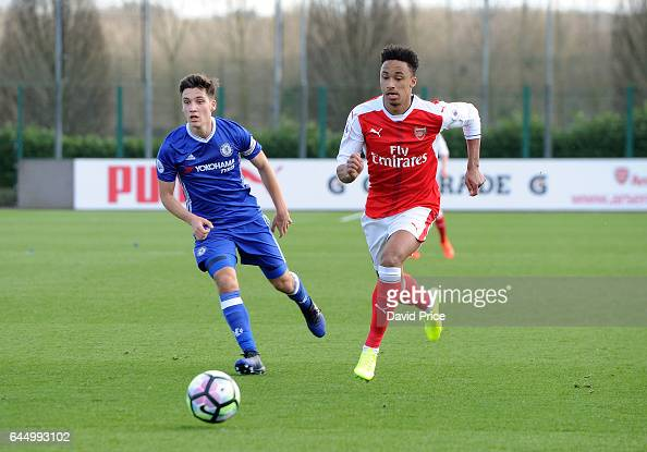 Cohen Bramall of Arsenal takes on Ruben Sammutt of Chelsea during the match between Arsenal U23 and Chelsea U23 at London Colney on February 24 2017...