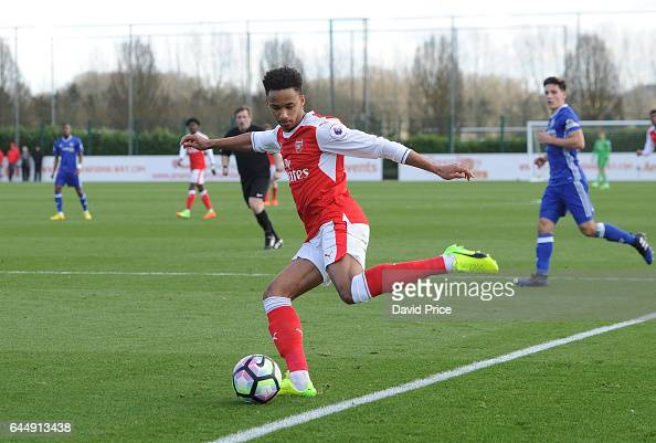 Cohen Bramell of Arsenal during the match between Arsenal U23 and Chelsea U23 at London Colney on February 24 2017 in St Albans England