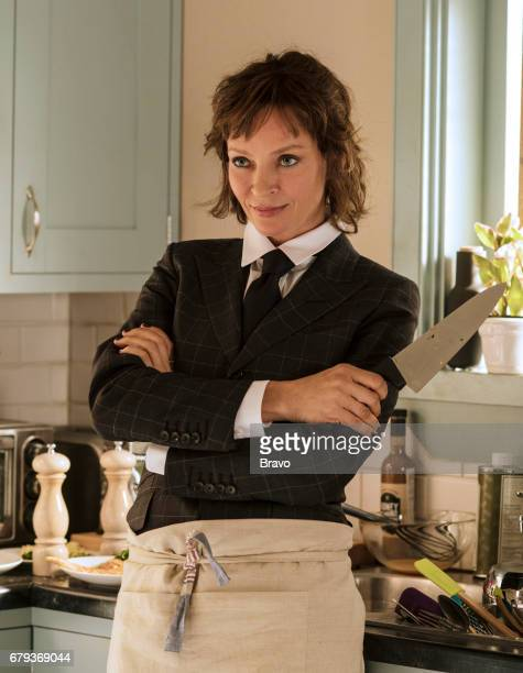 IMPOSTERS 'Cohen Lenny Cohen' Episode 104 Pictured Uma Thurman as Lenny Cohen