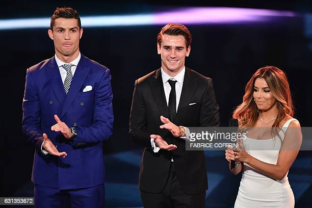 Cohost and US actress Eva Longoria speaks on stage next to the nominees for The Best FIFA Mens Player of 2016 award Real Madrid and Portugal's...