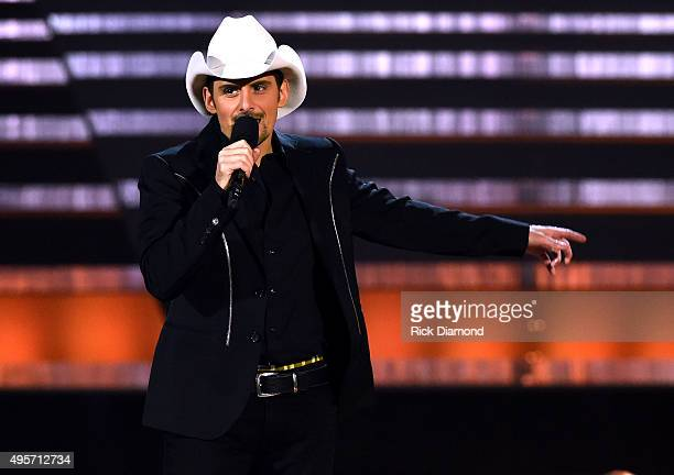 Cohost Brad Paisley speaks onstage at the 49th annual CMA Awards at the Bridgestone Arena on November 4 2015 in Nashville Tennessee