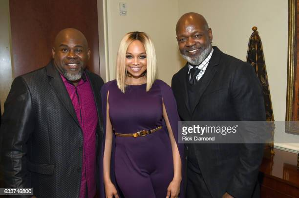 Cohost David Mann President of Pat Emmitt Smith Charities Pat Smith and former NFL player Emmitt Smith pose backstage during the BET Presents Super...