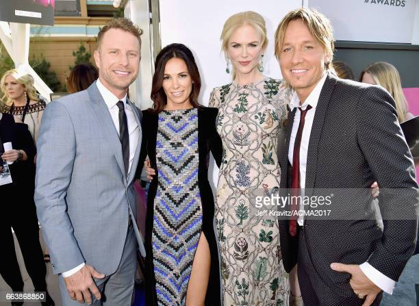 Cohost Dierks Bentley Cassidy Black actor Nicole Kidman and singer Keith Urban attend the 52nd Academy Of Country Music Awards at Toshiba Plaza on...