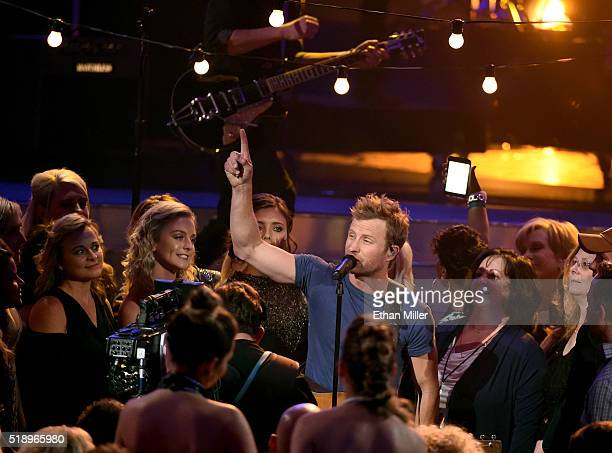 Cohost Dierks Bentley performs during the 51st Academy of Country Music Awards at MGM Grand Garden Arena on April 3 2016 in Las Vegas Nevada