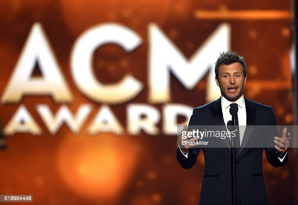 Cohost Dierks Bentley speaks onstage during the 51st Academy of Country Music Awards at MGM Grand Garden Arena on April 3 2016 in Las Vegas Nevada