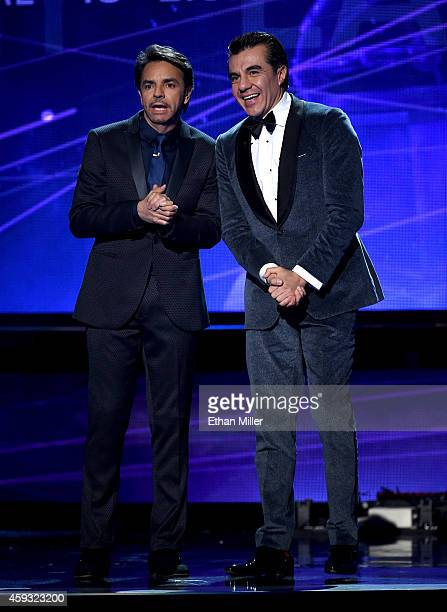 Cohost Eugenio Derbez and actor Adrian Uribe joke around during the 15th Annual Latin GRAMMY Awards at the MGM Grand Garden Arena on November 20 2014...