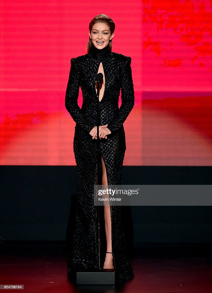 cohost-gigi-hadid-speaks-onstage-during-the-2016-american-music-at-picture-id624758154
