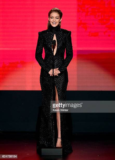 Cohost Gigi Hadid speaks onstage during the 2016 American Music Awards at Microsoft Theater on November 20 2016 in Los Angeles California