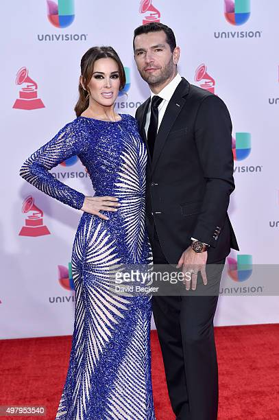 Cohost Jacqueline Bracamontes and Martin Fuentes attend the 16th Latin GRAMMY Awards at the MGM Grand Garden Arena on November 19 2015 in Las Vegas...