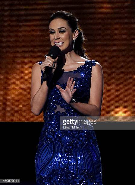 Cohost Jacqueline Bracamontes speaks during the 15th annual Latin GRAMMY Awards at the MGM Grand Garden Arena on November 20 2014 in Las Vegas Nevada
