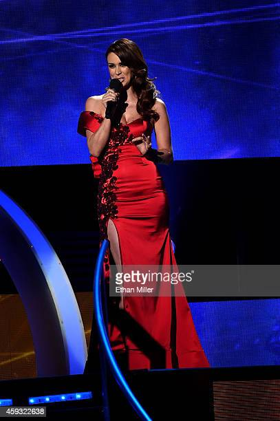 Cohost Jacqueline Bracamontes speaks onstage during the 15th Annual Latin GRAMMY Awards at the MGM Grand Garden Arena on November 20 2014 in Las...